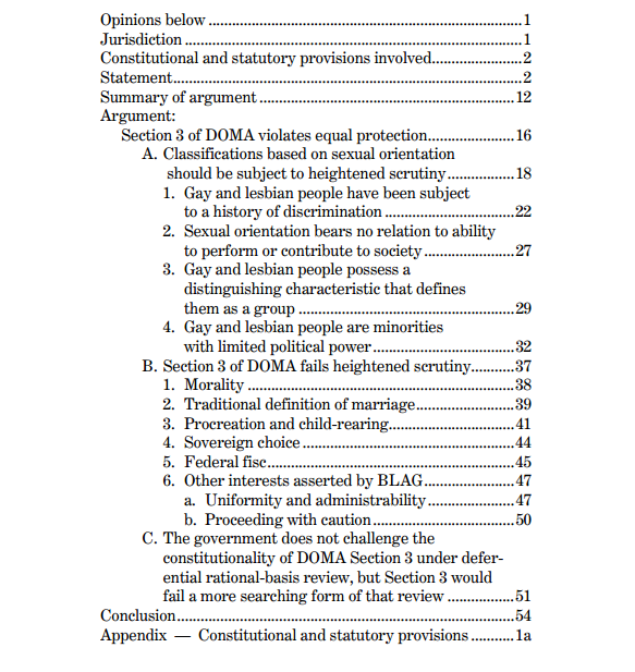 Obama DOMA Brief Table of Contents